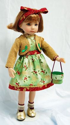 """HOLLY & GOLD"" ENSEMBLE FOR 13"" EFFNER LITTLE DARLING DOLL-Dale Rae Designs"