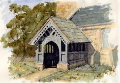St Mary's at Birkin in West Yorkshire. Being a Grade I listed building, the church dates from around 1150 ~ sketch ~ John Edwards