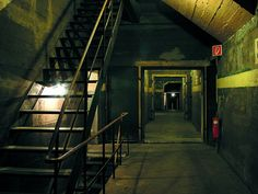 White stripe, shape of the furthest door, planked concrete || German bunker