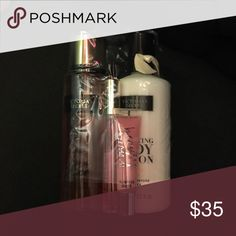 Nwt Beauty set • Beauty set includes  1-Bombshell Mini EDP, 1-12 oz Coconut Daily Body Care Lotion, 1-Candy Baby Lip Gloss and 1-8.4 oz Mist. Victoria's Secret Makeup