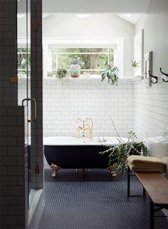Bathroom inspiration // navy tile, black clawfoot tub and white subway tile clawfoot bathtub Bathroom Renos, Laundry In Bathroom, Tiled Bathrooms, White Bathroom, Bathroom Goals, Bathroom Ideas, Bathroom Remodeling, Classic Bathroom, Small Bathroom