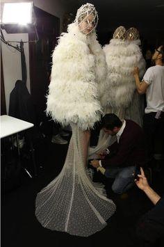 Vanessa Axente backstage at Alexander McQueen F/W 2013.
