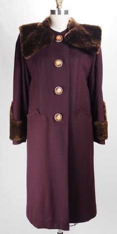 Vintage 1940s Gorgeous Burgundy Wool Coat with Unique Buttons and Fur Trim by TunnelofLoveVintage on Etsy