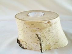 Tea Light Candle Holder Birch Wood Candle by DivineRusticCreation, $12.95
