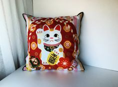 maneki neko pillow cover cat pillow cover by japanmomijidesigns
