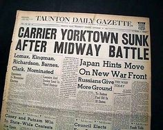 USS YORKTOWN Aircraft Carrier Battle of Midway SINKING 1942 WWII Old Newspaper