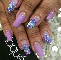 Laque Nail Bar | Matte Purple & Glitter Mix Square Tip Acrylic Nails