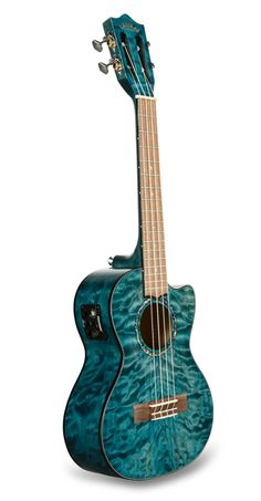 Quilted Maple Blue Stain Tenor with Kula Preamp A/E Ukulele Lanikai Ukulele, Blue Acoustic Guitar, Guitar Cabinet, Tenor Ukulele, Blue Stain, Guitar Strings, Guitar Design, Music Instruments, Red Sun