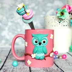 Ceramic mug with handmade polymer clay decor. 11 oz handmade decor is made from oven baked polymer clay brand Premo Decor from polymer clay glued to the cup, so a cup can be used as usual.  А wonderful gift for mom, sister, daughter.