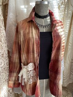 Excited to share this item from my #etsy shop: Womens, womens clothing, womens blouses, flannel shirts, bleach dyed, upcycled shirts Lace Outfit, Lace Dress, Upcycled Shirts, Shabby Chic Dress, Bleach Dye, Flannel Shirts, Chic Clothing, Tie Dyed, Vintage Lace