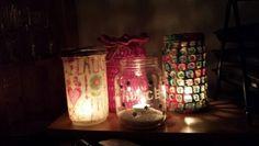 I make jar light. Chrochet and decupage.