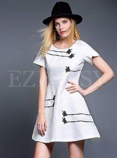 Short Sleeve Aline Fashion Dress   Ezpopsy.com