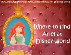 Click this pin for a complete list of all the places to see Ariel, from Disney's The Little Mermaid, at Walt Disney World Resort; See: http://www.buildabettermousetrip.com/princess-ariel-at-disney-world  #Little Mermaid #Ariel
