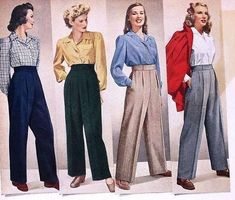 Vintage Fashion: Fall fashion trends of the : Due to wartime necessity, trousers for women gain popularity for their functionality and smartness. Autumn Fashion Casual, Fall Fashion Trends, Casual Fall, Costura Vintage, Moda Vintage, Vintage Dresses, Vintage Outfits, Vintage Pants, 40s Outfits