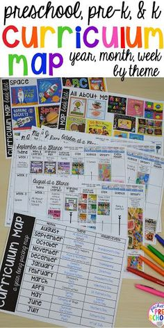 Curriculum Map (Preschool, Pre-K, and Kindergarten) for the whole year! Year plan, month plans, and week plans by theme.