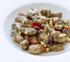 Chickpea and buckwheat gnocchi, with pesto of turnip greens, dried tomatoes, taggiasche olives and pine nuts - - Gnocchi Recipes, Risotto Recipes, Pasta Recipes, Veggie Recipes, Wine Recipes, Vegetarian Recipes, Healthy Recipes, Turnip Greens, Kitchen Recipes