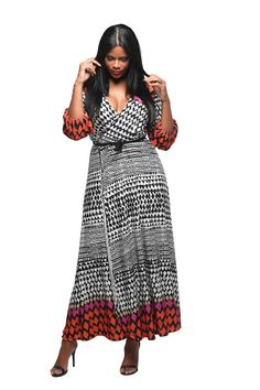 Juliette' Abstract Art Full Coverage Wrap Dress
