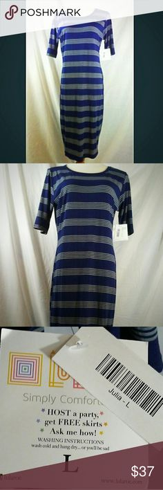 LULAROE Julia Dress Navy with gray stripes. New, with tags. LuLaRoe Dresses