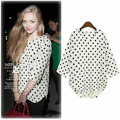 Black White Polka Dots Loose Shirt Chiffon 3 4 Sleeve Tops Blouse Casual T Shirt | eBay