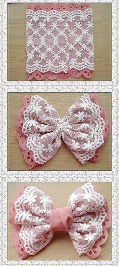 DIY Bow - might well go on a little girl's dress - jute Beutel - Baby Headbands Diy Hair Bows, Diy Bow, Diy Ribbon, Ribbon Work, Ribbon Crafts, Fabric Crafts, Sewing Crafts, Fabric Hair Bows, Ribbon Flower