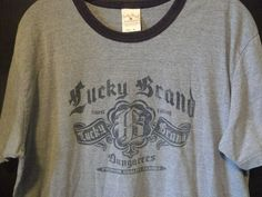 Lucky Brand Dungarees Blue Ringer T Shirt Sz XL  USA Made EUC By Gene Montesano #LuckyBrand #GraphicTee