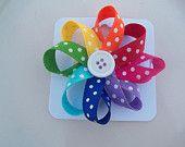 Rainbow Pinwheel Hairbow