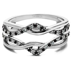 Silver Black And White Diamond Criss Cross Infinity Ring Guard Enhancer with Black And White Diamonds (0.23 ct. twt.) *** Check out the image by visiting the link.