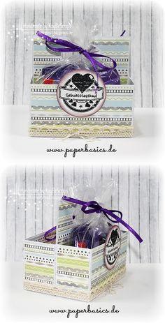 Geburtstags-Doppelbox  ...wenn´s mal etwas mehr sein soll ;)   Die Box besteht aus wunderschönem Papier und ist mit einem hübschen Stempel versehen.  Die Bastelmaterialien findet ihr auf www.paperbasics.de  Viel Spaß beim kreativ werden!