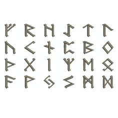 "Machine Embroidery Design Collection Instant Download - ""Rune 1"" Norse Nordic Elder Futhark Alphabet Font"