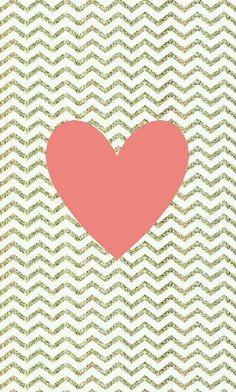 Gold Glitter Chevron Print w/ Coral Heart Wallpaper ♡♡♡