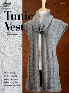 E-Patterns for Wearables - Knit Tunic Vest Pattern with a collar,  Love it