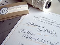 Oh So Beautiful Paper: Shannon + Phillipe's Peach and Gray Brunch Wedding Invitations