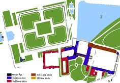 "04- Fountainebleau; Site plan of The Châteaue of Fontainebleau, near Paris. ""The Châteaue of Fontainebleau was built by Francois I. The older château on this site was already used in the latter part of the 12th century by King Louis VII. The additions at Fontainebleau was begun in 1528 with a plan inspired by Poggio a Caiano."