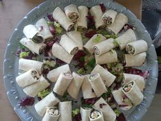 Crumbed chicken & Sweet Chilli; Smoked Ham, Mustard & Rocket; Grilled Rump & Feta Wrap Platter - by Tasting Matters Catering