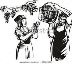 Afbeeldingsresultaat voor illustrations women harvest grapes