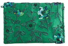A fabulous new season's design, the Day Wallet has a sumptuous silk velvet outer, and folds out to reveal note, zipped coin and card compartments and a magnetic dome close. Clematis Flower, Vintage Clutch, Makeup Bags, Clutch Bags, Everyday Bag, Green Silk, Emerald Green, Bag Making, Purses And Bags