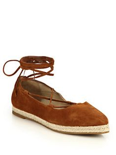 Michael Kors Collection - Cadence Suede Lace-Up Espadrille Flats