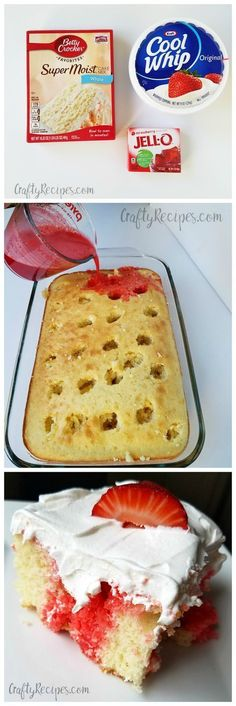 Strawberry poke cake dessert- this was sooo good and easy to make for summer!