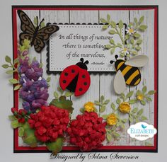 This card designed using Joset Designs Ladybug and Bee dies.  Susan's Garden Notes Bluebonnet - Lupine and Susan's Garden Geranium dies, one of Susan's Seeds of Thought stamps used for sentiment and other other dies from Elizabeth Craft Designs.  http://selmasstampingcorner.blogspot.com/2016/07/working-with-velvet-adhesive-sheets.html