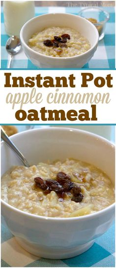 Apple cinnamon Instant Pot oatmeal recipe that takes just 5 minutes and tastes a.Apple cinnamon Instant Pot oatmeal recipe that takes just 5 minutes and tastes amazing! Easy pressure cooker oatmeal recipe my kids absolutely love. Instant Pot Oatmeal Recipe, Best Instant Pot Recipe, Crock Pot Oatmeal, Cooking Oatmeal, Vegan Oatmeal, Instant Pot Pressure Cooker, Pressure Cooker Recipes, Pressure Cooking, Apple Cinnamon Oatmeal