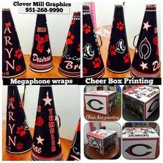 Cheer box printing and megaphone wraps