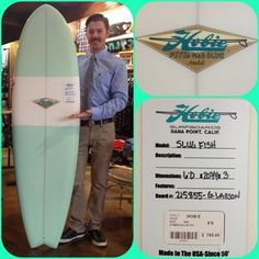 "Perfect gift for your #surfing #Valentine #Sweetheart.. 6'0"" @hobiesurfboards Slug Fish shaped by Gary Larson. $785 and in stock at #Hobie on #DelMar in #SanClemente.. Chris's shirt is the #Bixby button up by @roarkclothing #valentinesday #surf #surfing #handshaped #surfer #waves #beach #fish #retro"