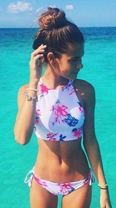 summer outfits White Printed Bikini