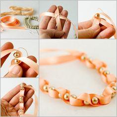Ribbon and bead twist bracelet feature  Follow us on Facebook:  https://www.facebook.com/handmade4you2013