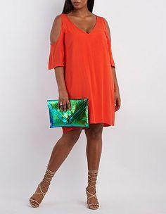 Plus Size Cold Shoulder Shift Dress: Charlotte Russe