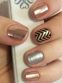 Rose Gold, Black Chevron (layered over Rose Gold) accent, Diamond Dust Sparkle accent