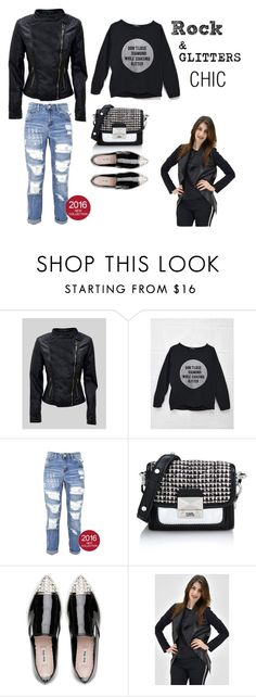 """Rock & Glitter Chic"" by areachic ❤ liked on Polyvore featuring Karl Lagerfeld and Miu Miu"