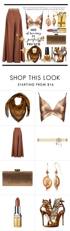 """""""France in the Winter"""" by conch-lady ❤ liked on Polyvore featuring Hermès, Boohoo, Zimmermann, Jessica McClintock, Silver Forest, Elizabeth Arden, Giuseppe Zanotti, france, goldleaves and FranceintheWinter"""