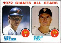 1973 Topps San Francisco Giants All Stars, Chris Speier, Charlie Fox, Baseball Cards That Never Were.