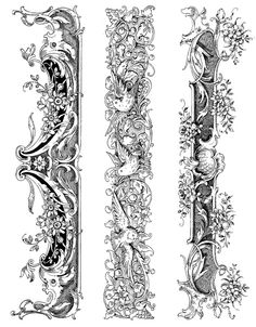 Ornate Mantels Set of 3 Rubber Stamps